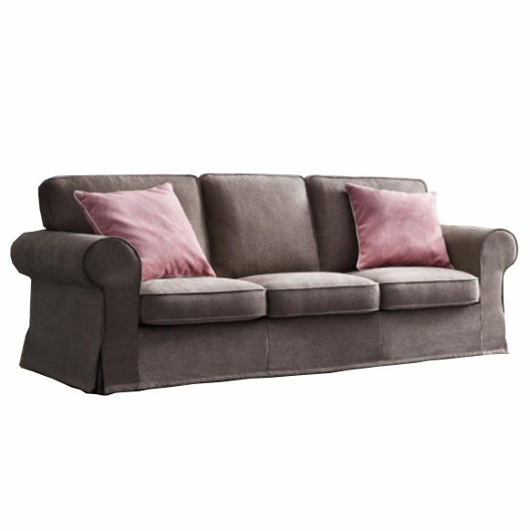 Canapea fixa 3 locuri tapitata cu stofa Alba Brown, l219xA90xH88 cm