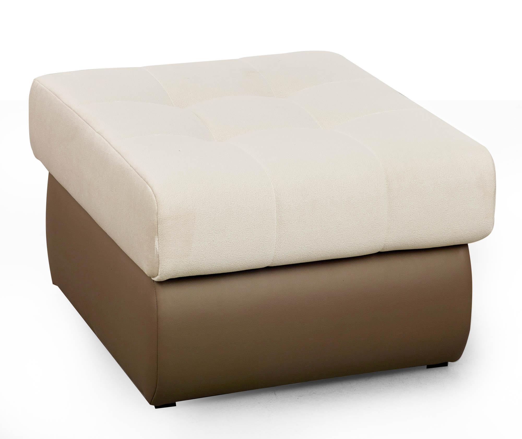 Taburet tapitat cu stofa si piele ecologica Aldo White l70xA62xH41 cm
