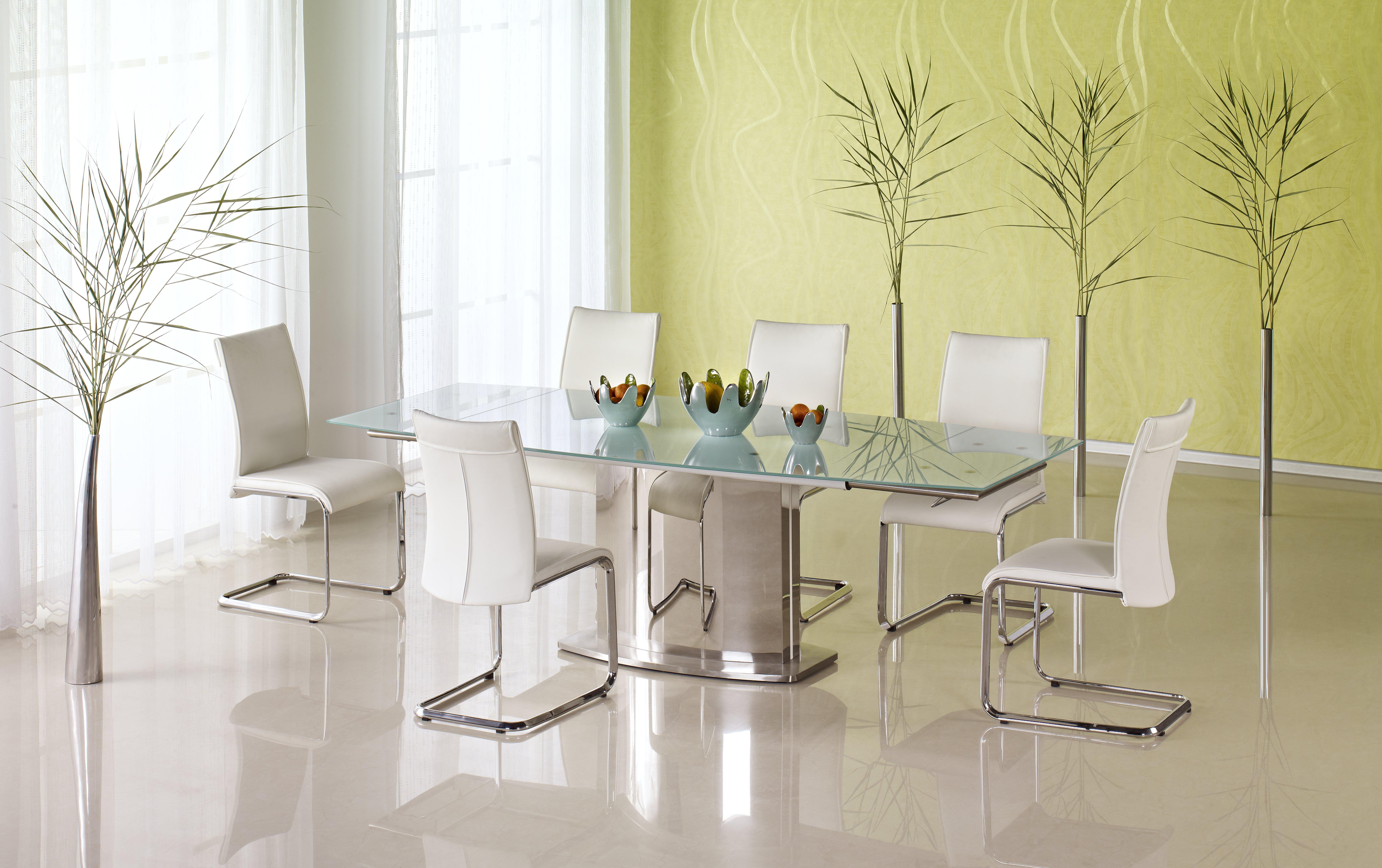 Set Masa extensibila din sticla Alessandro + 6 scaune Paolo