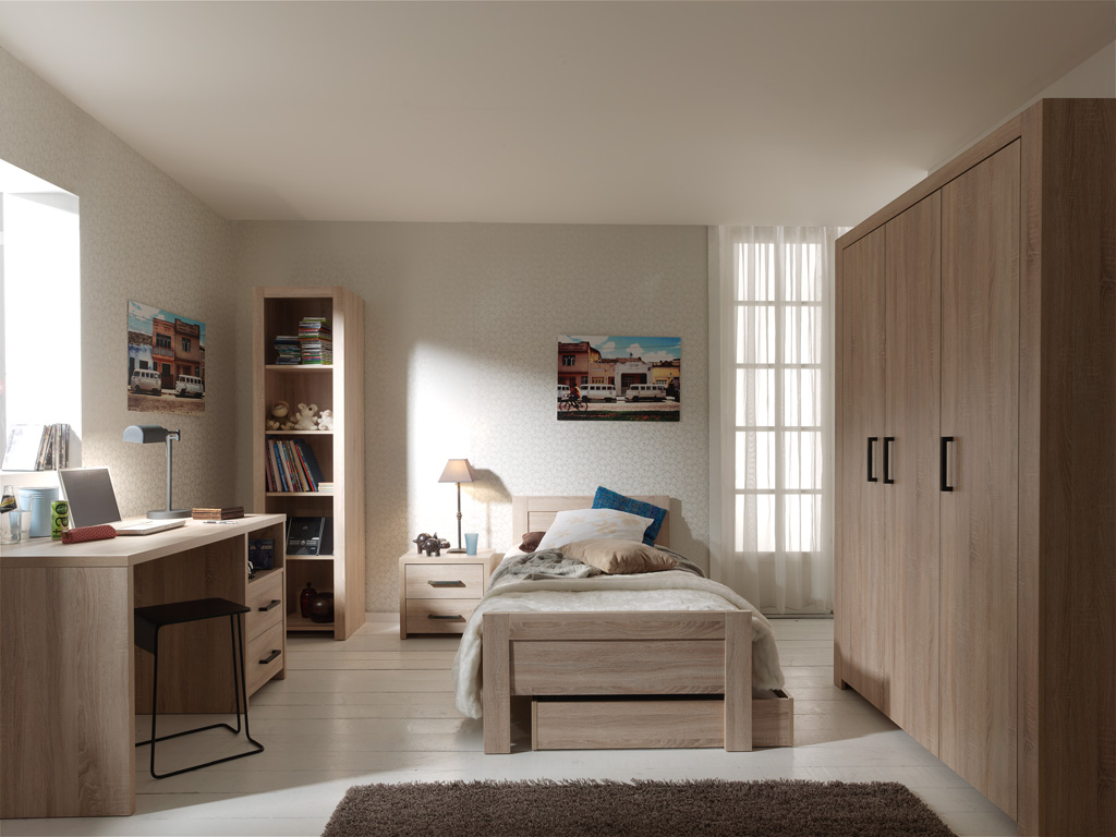 Set Mobila dormitor din pal, pentru copii 5 piese Aline Stejar deschis, 200 x 90 cm poza