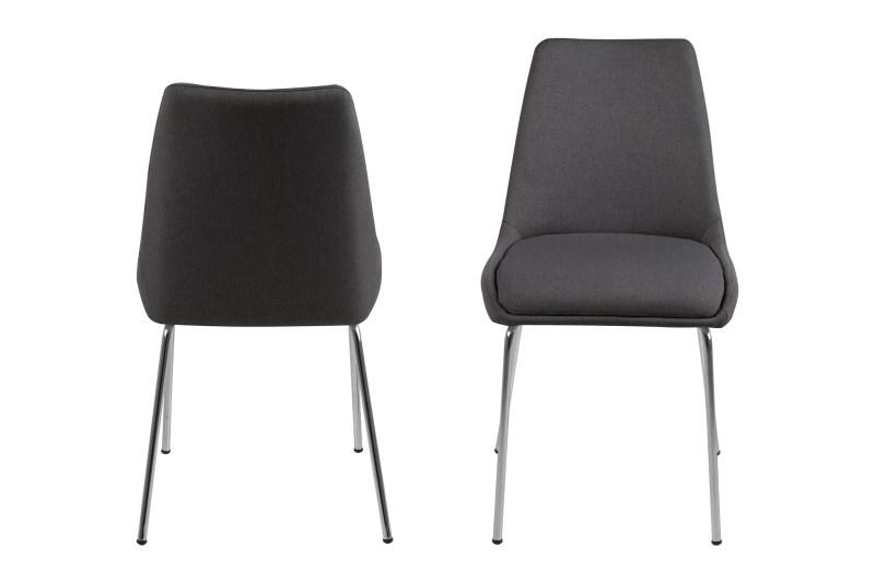 poze cu Set 2 scaune din metal tapitate Alison Dark Grey II