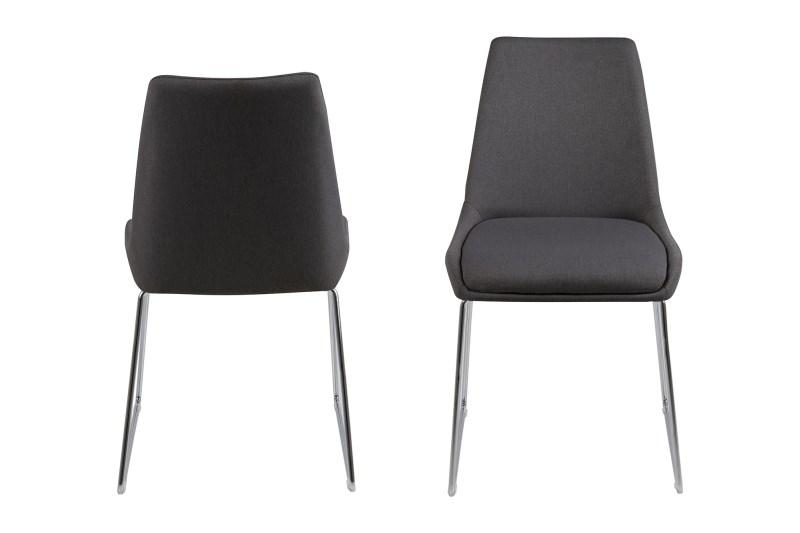poze cu Set 2 scaune din metal tapitate Alison Dark Grey