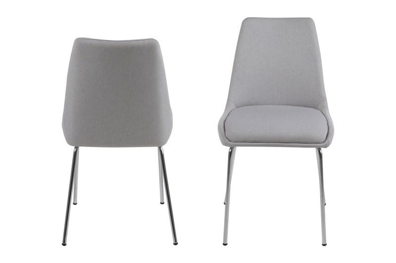 poze cu Set 2 scaune din metal tapitate Alison Light Grey II