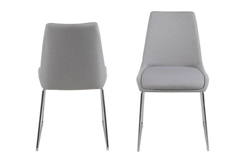 Set 2 scaune din metal tapitate Alison Light Grey