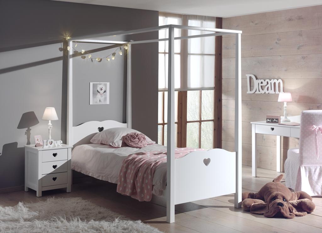 Set Mobila dormitor din lemn de pin si MDF, pentru copii 3 piese Amori Alb, 200 x 90 cm imagine