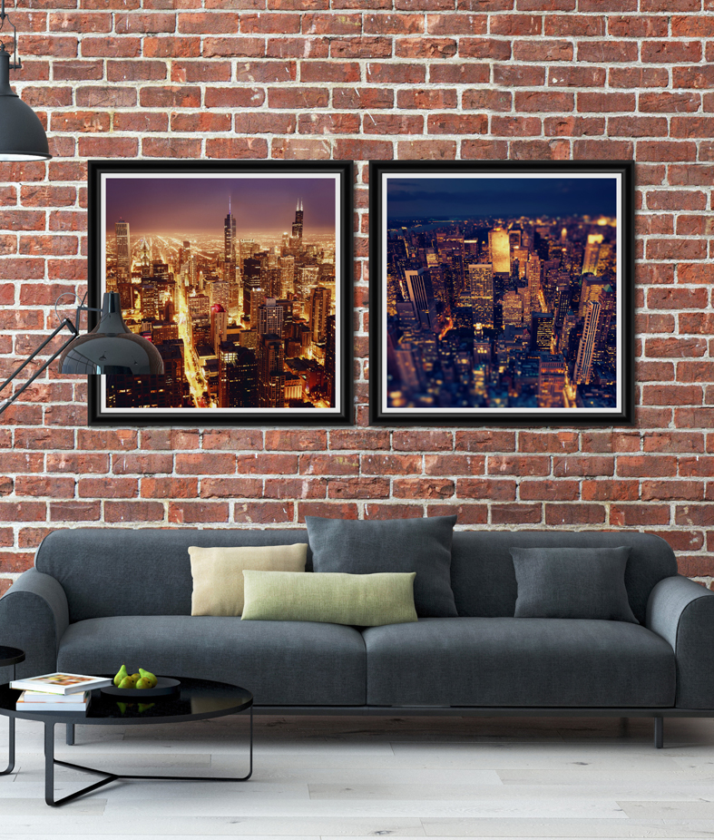 Tablou 2 piese Framed Art American Skyscrapers