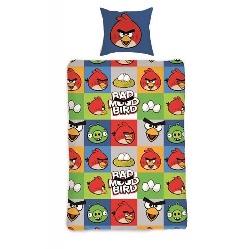 Lenjerie de pat copii Cotton Angry Birds AB-129BL imagine