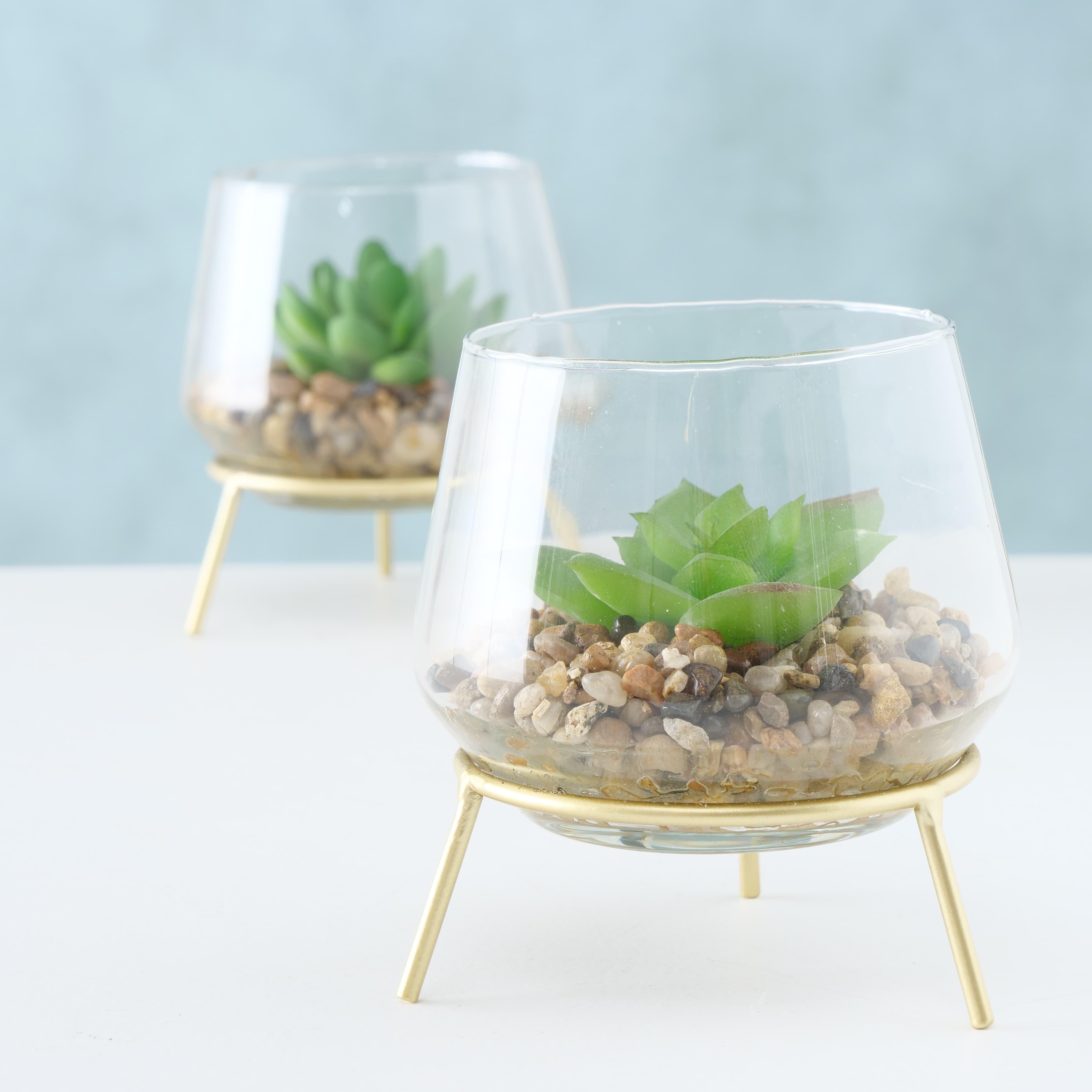 Aranjament decorativ cu plante artificiale Candio Verde, Modele Asortate, Ø10xH11 cm imagine