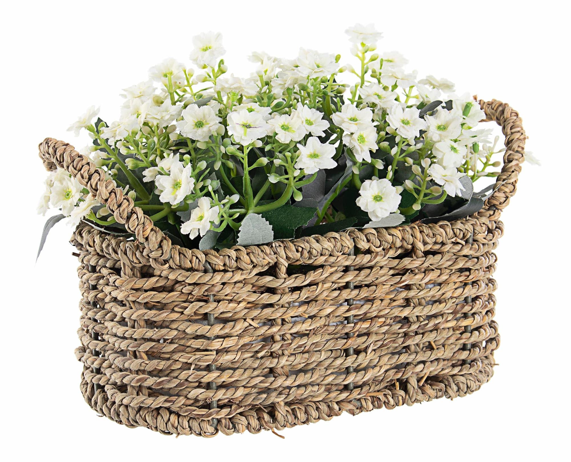 Aranjament decorativ cu plante artificiale Petunia Alb / Natural L23,5xl12,5xH17 cm