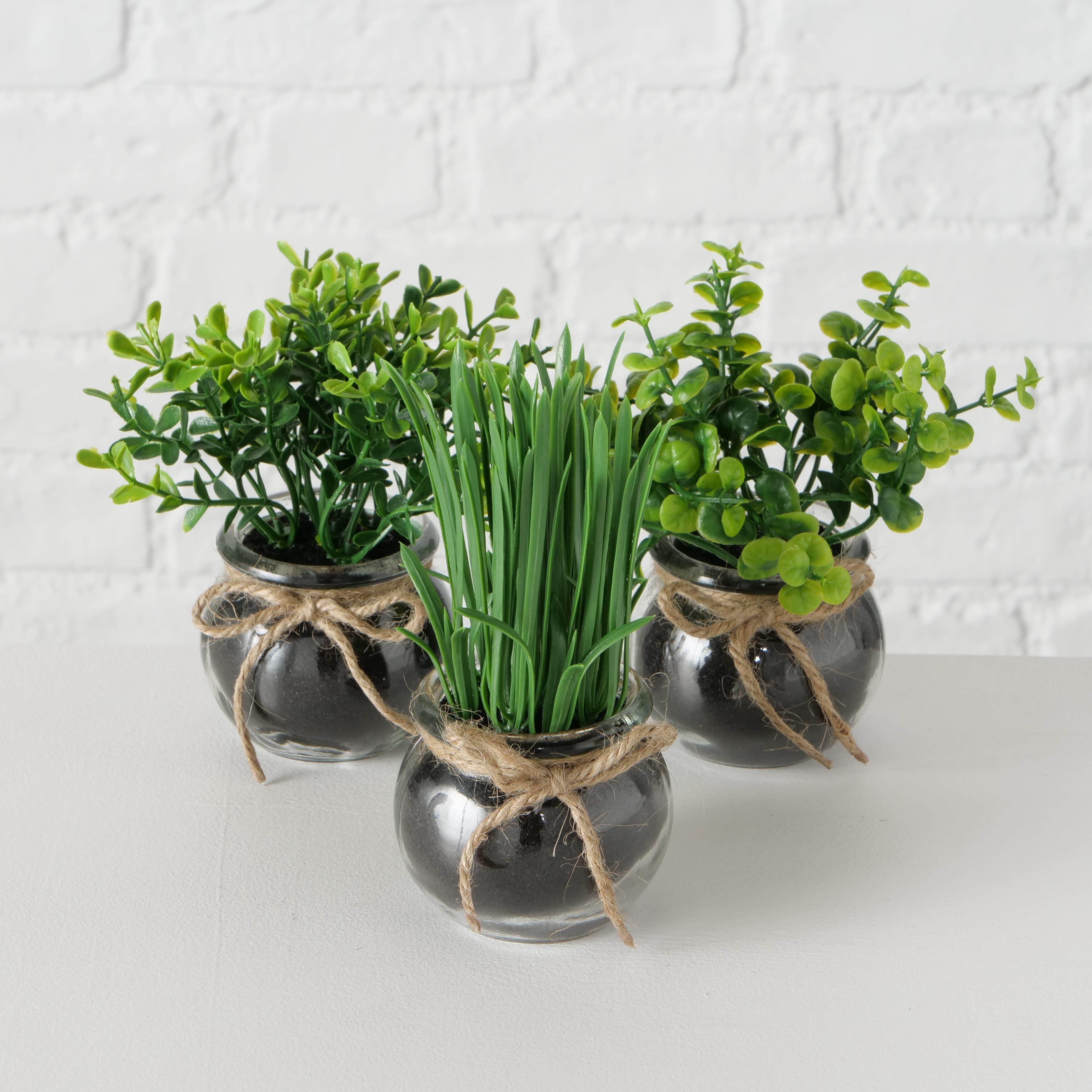 Aranjament decorativ cu plante artificiale Succulent II Verde, Modele Asortate, Ø13xH15 cm