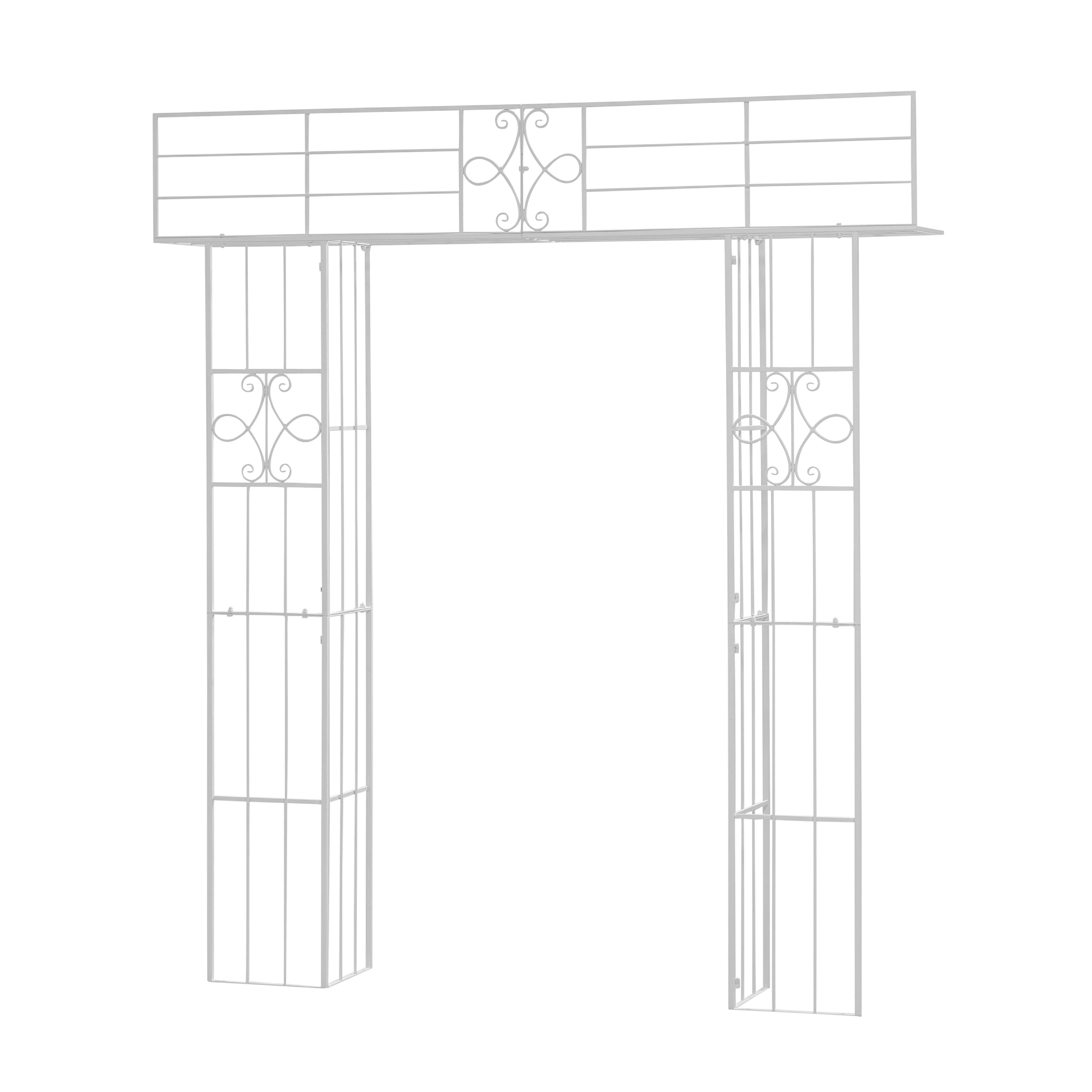 Arcada metalica de gradina Klara Alb, L210xl35xH235 cm imagine