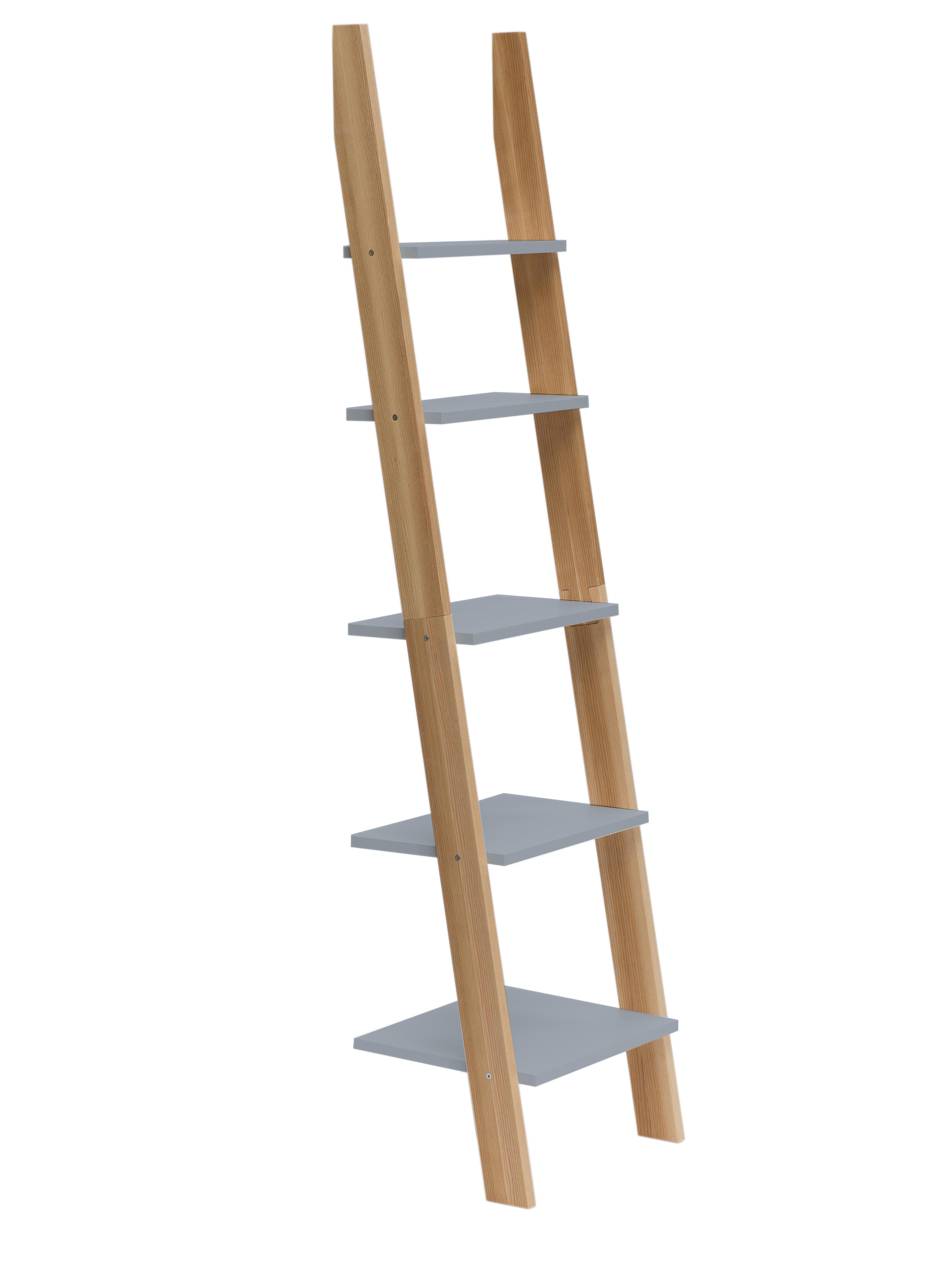 Raft din lemn de frasin si MDF Ashme Dark Grey l45xA35xH180 cm