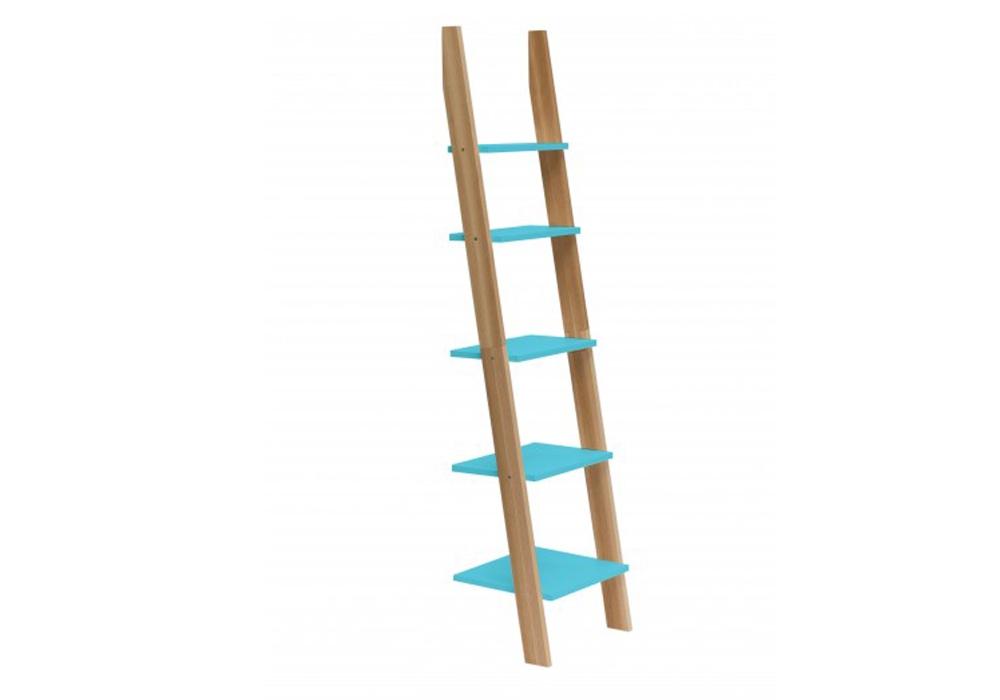 Raft din lemn de frasin si MDF Ashme Dark Turquoise l45xA35xH180 cm