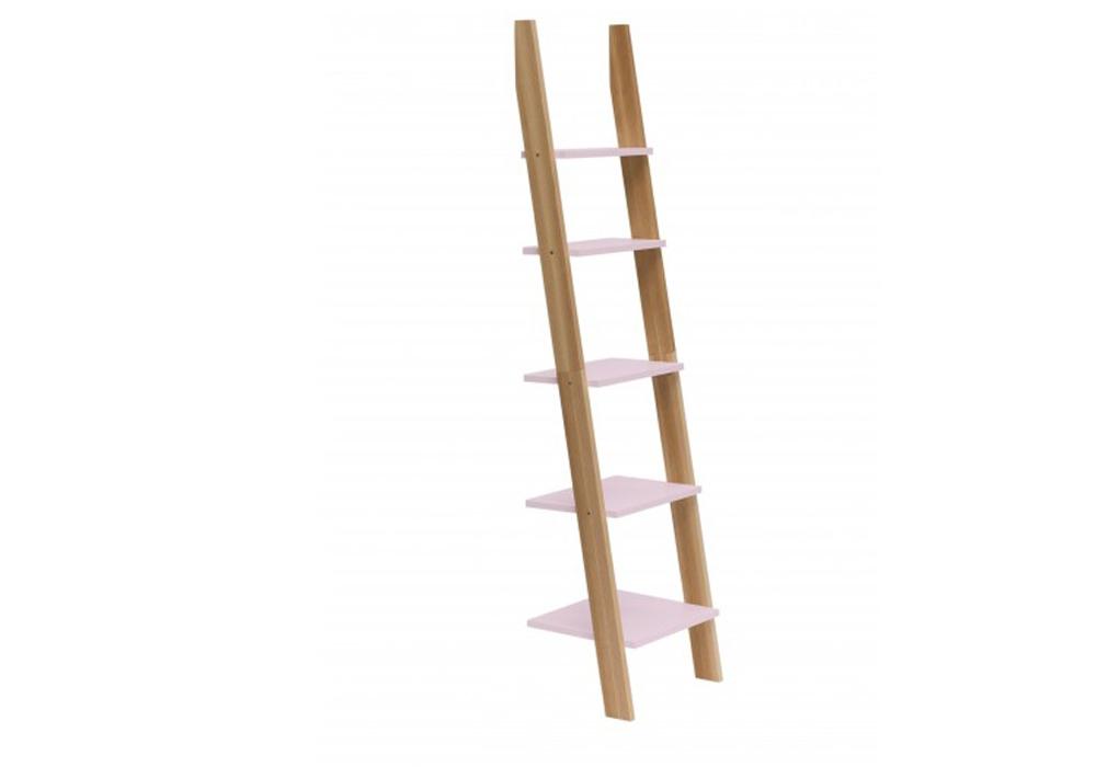 Raft din lemn de frasin si MDF Ashme Dusky Pink l45xA35xH180 cm