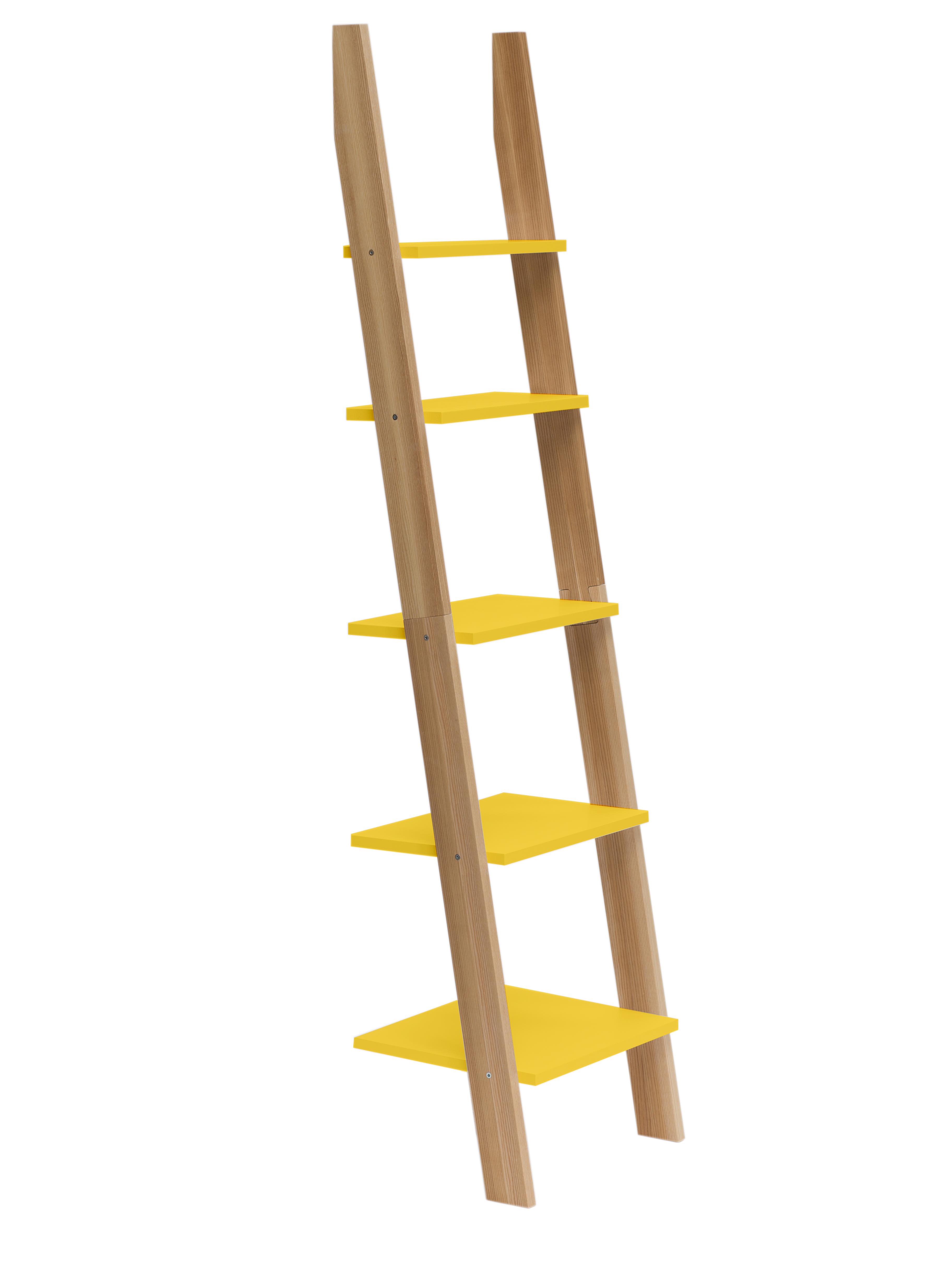 Raft din lemn de frasin si MDF Ashme Yellow l45xA35xH180 cm
