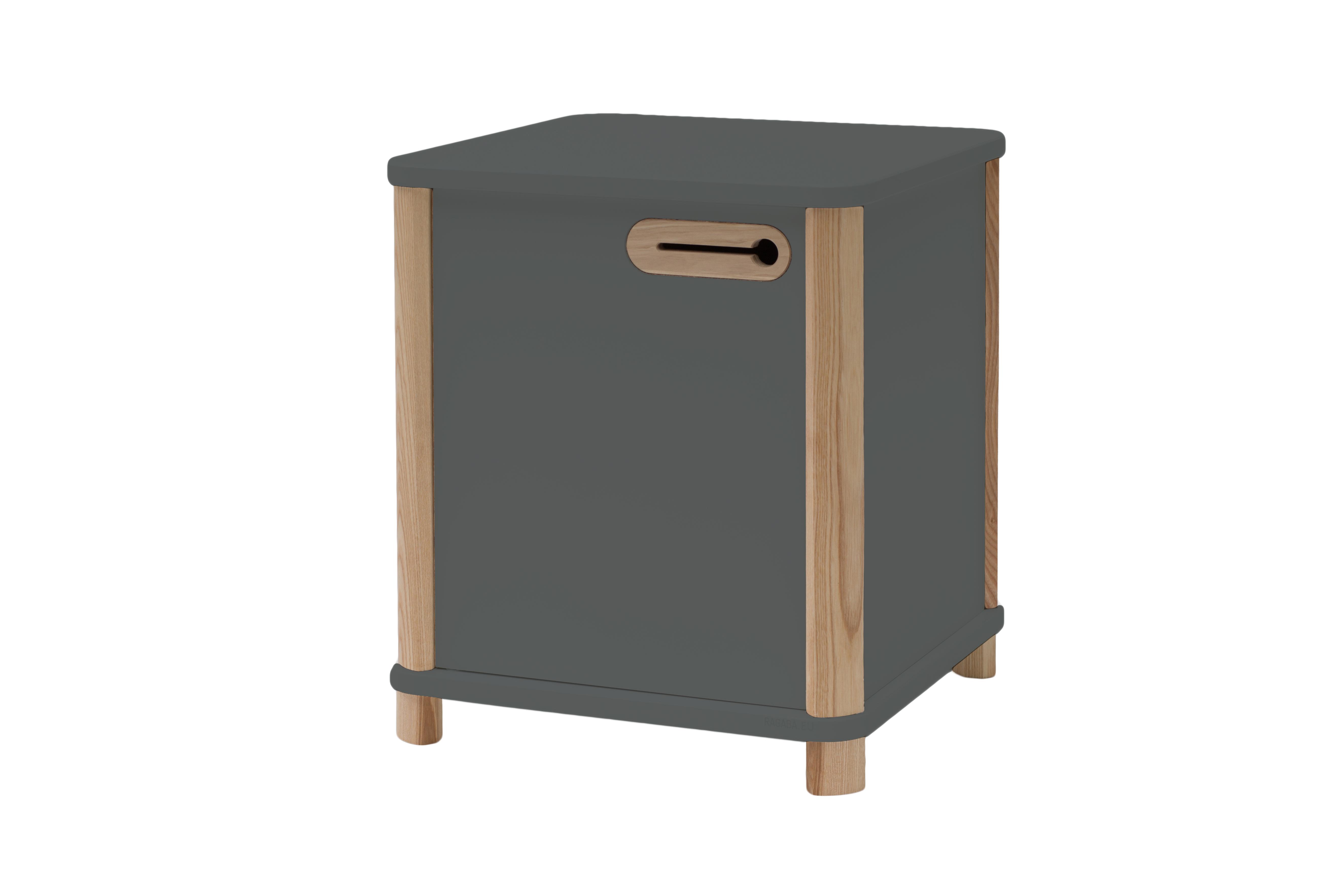 Cabinet din MDF si lemn de frasin Ashme Graphite, L42xl42xh48 cm
