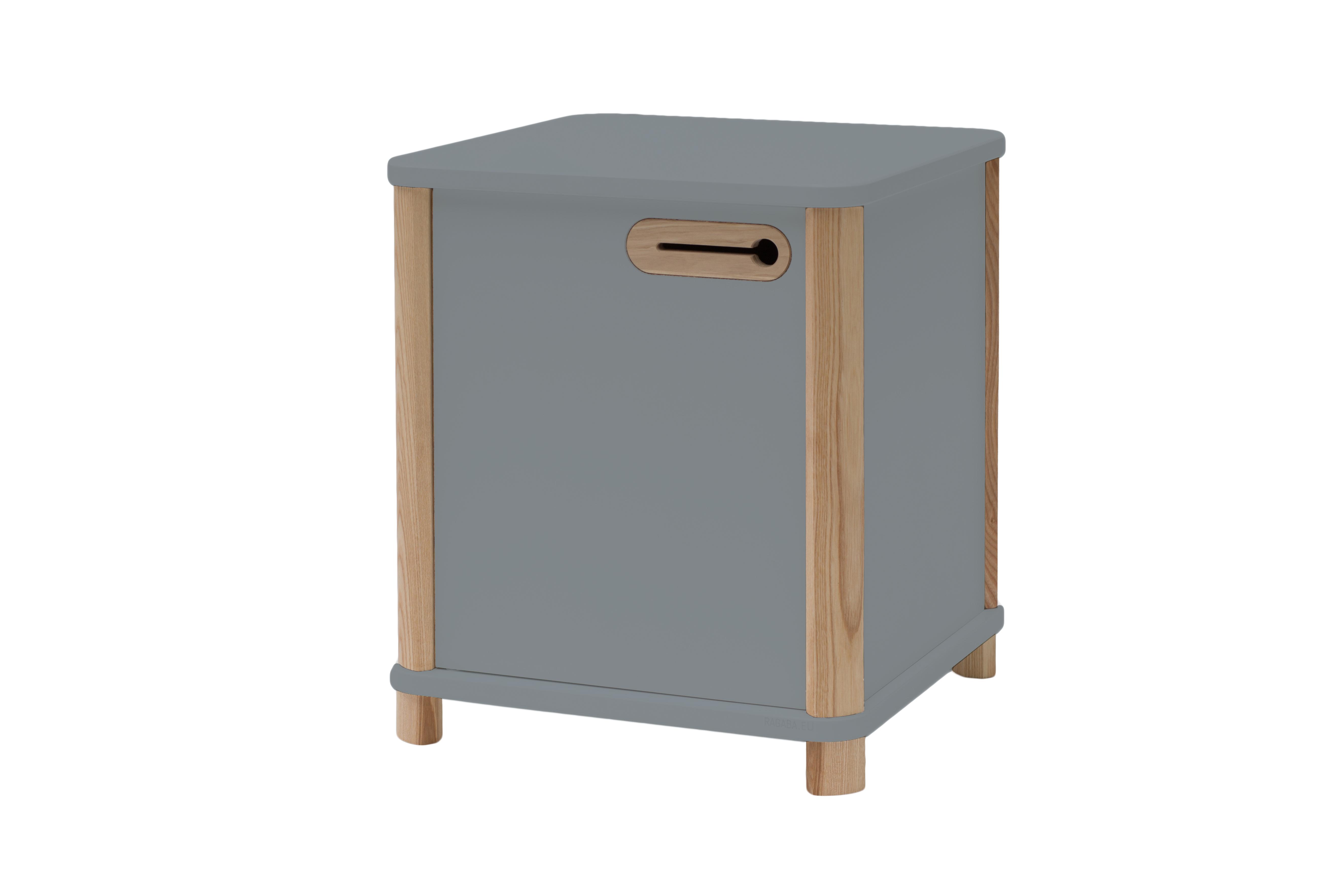 Cabinet din MDF si lemn de frasin cu 1 usa Ashme Dark Grey l42xA42xH48 cm