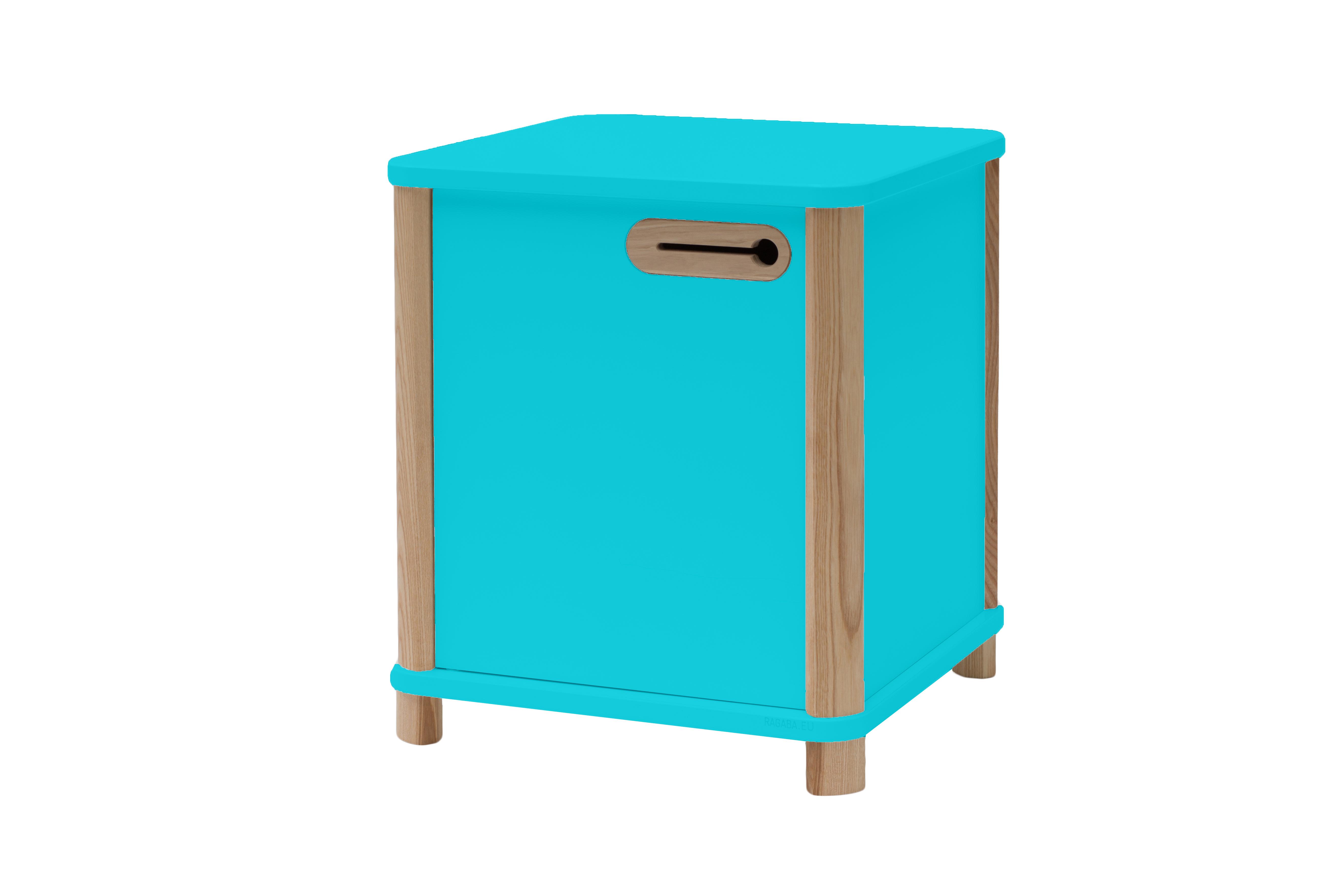 Cabinet din MDF si lemn de frasin 1 usa Ashme Dark Turquoise l42xA42xH48 cm