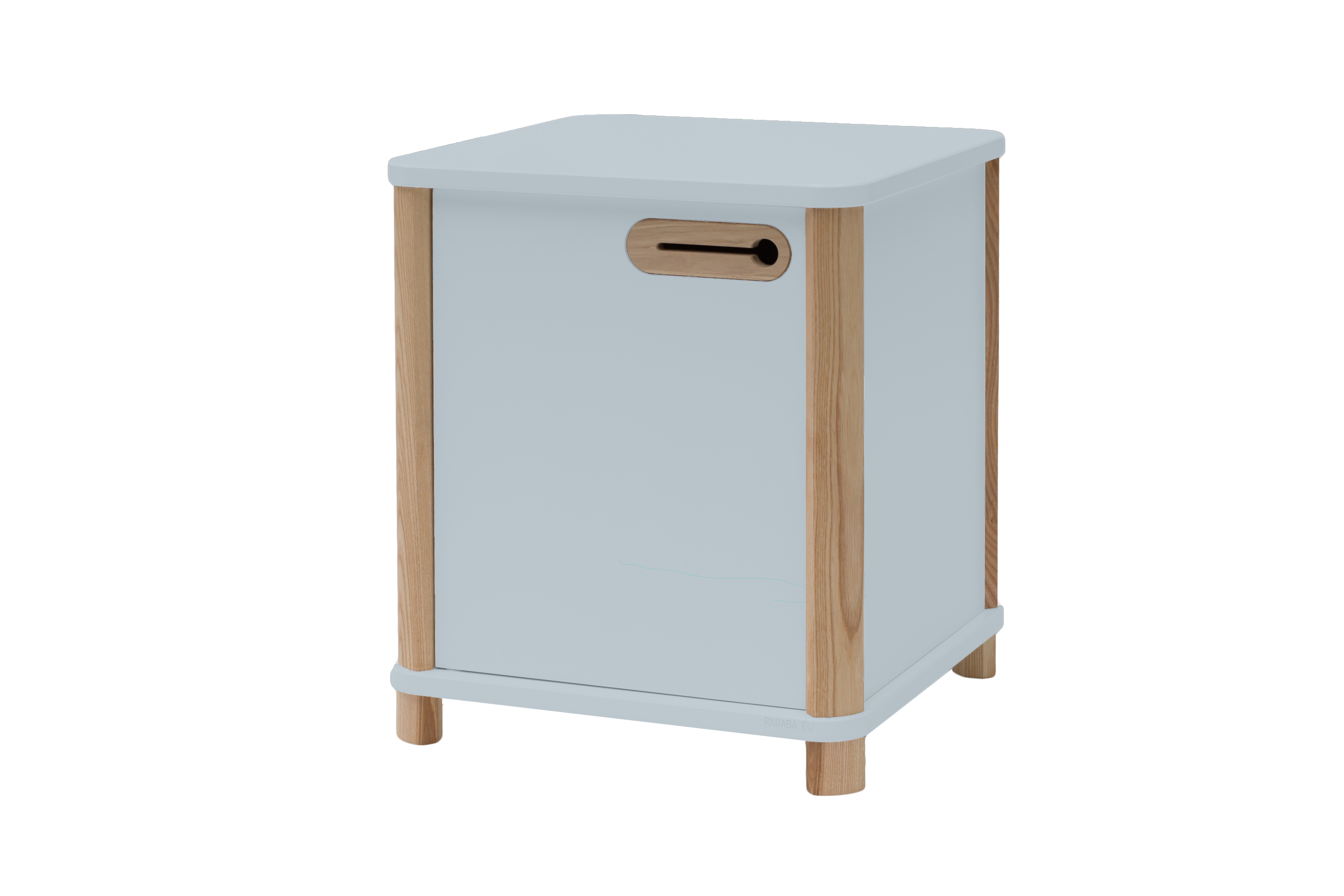 Cabinet din MDF si lemn de frasin cu 1 usa Ashme Light Grey l42xA42xH48 cm
