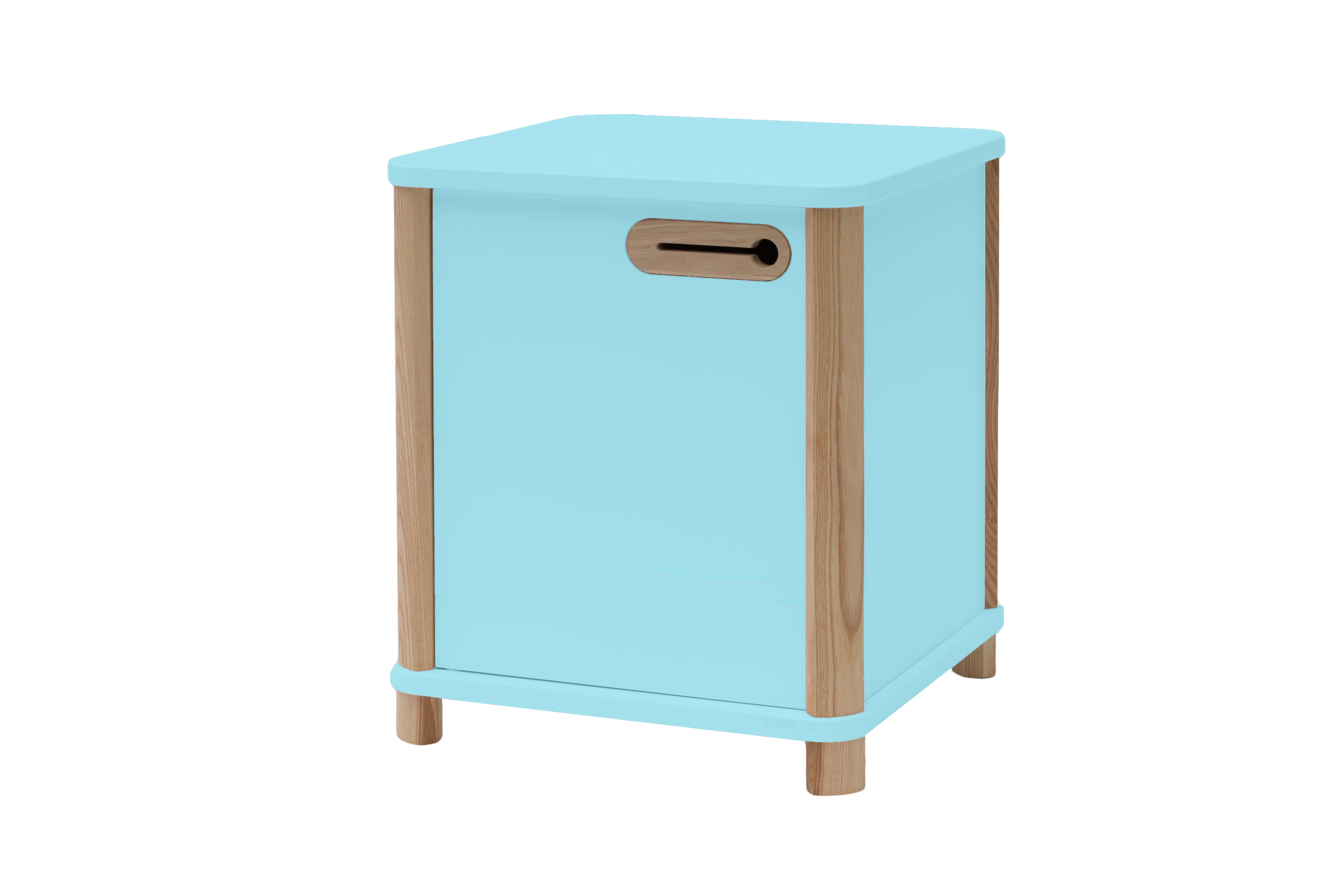 Cabinet din MDF si lemn de frasin Ashme Light Turquoise, L42xl42xh48 cm