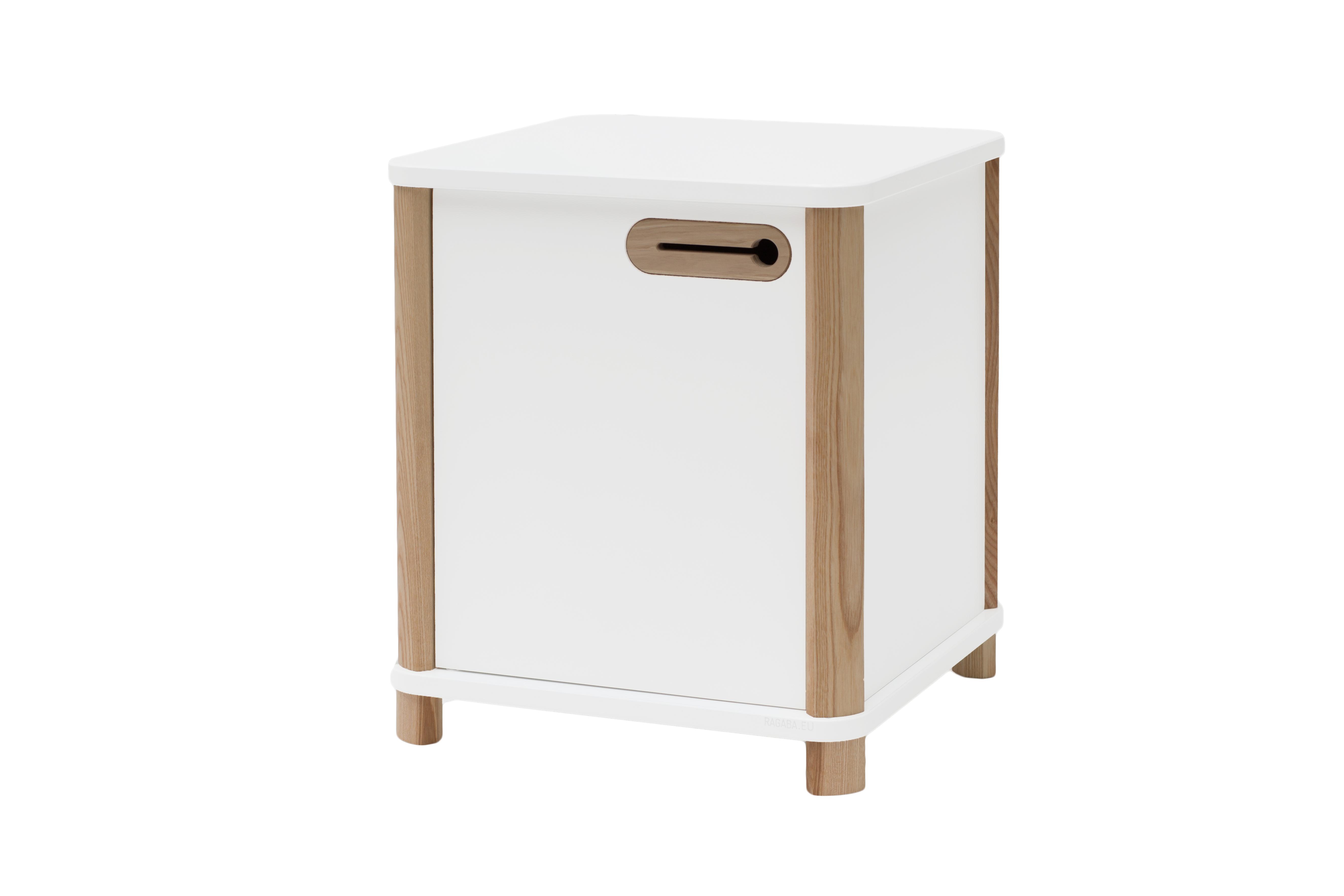 Cabinet din MDF si lemn de frasin Ashme White, L42xl42xh48 cm
