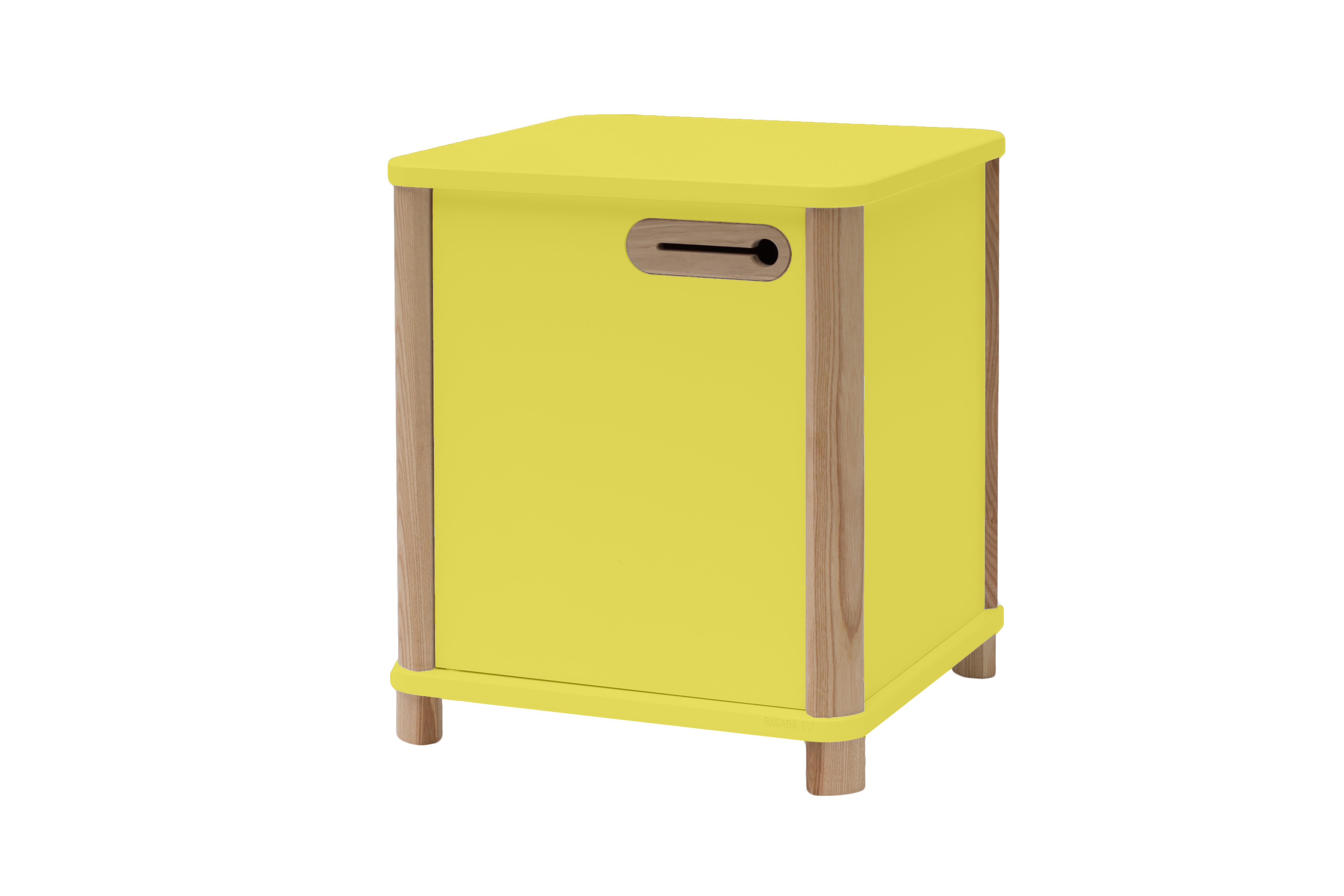 Cabinet din MDF si lemn de frasin Ashme Yellow, L42xl42xh48 cm