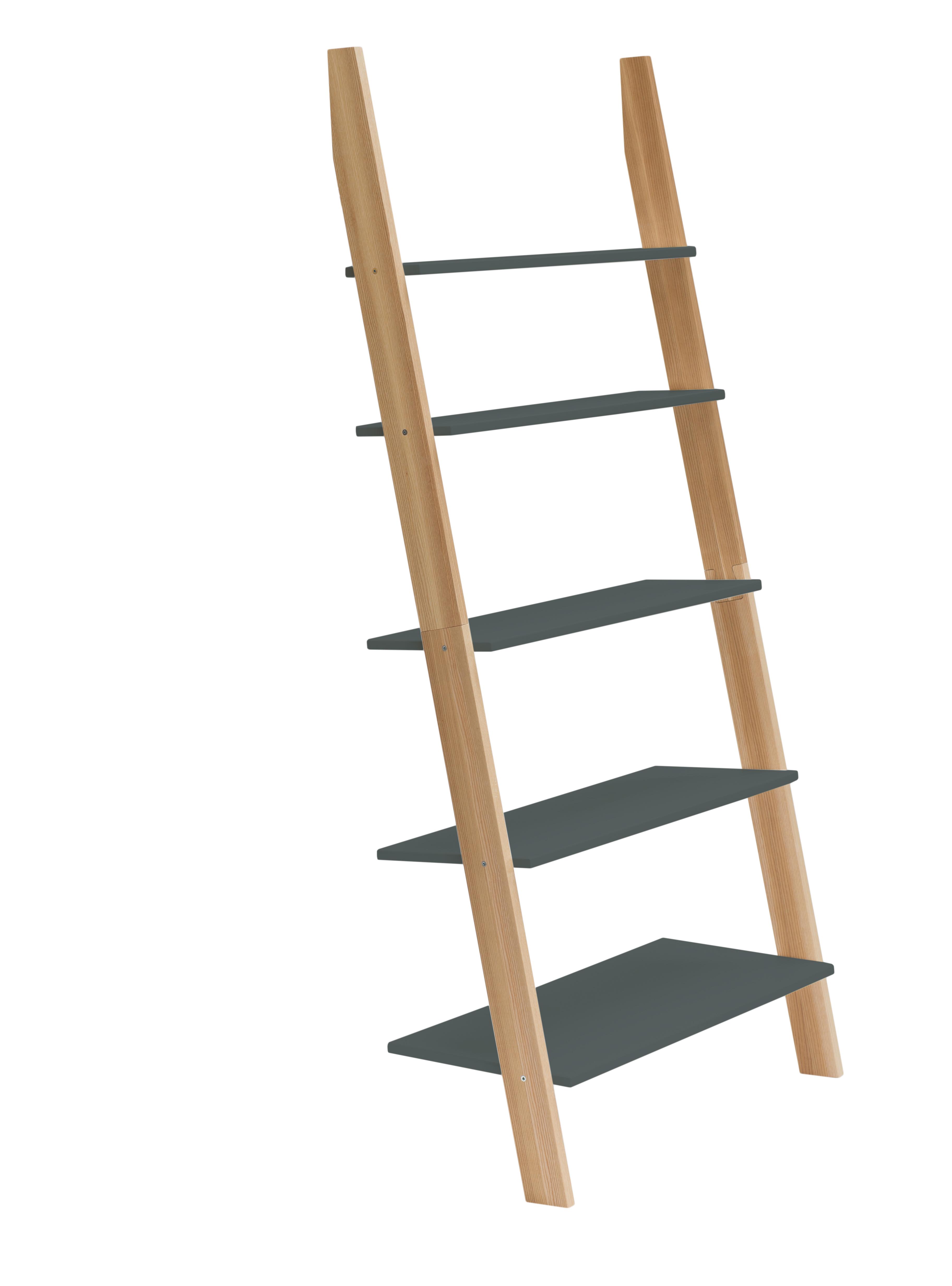 Raft din lemn de frasin si MDF Ashme Graphite l85xA35xH180 cm