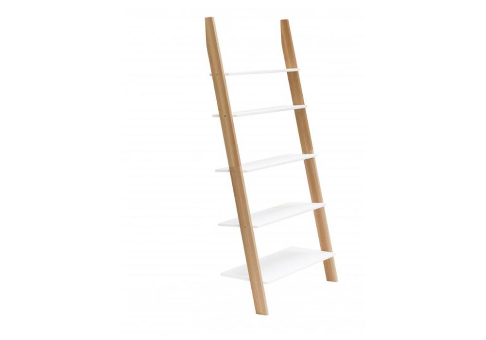 Raft din lemn de frasin si MDF Ashme White l85xA35xH180 cm