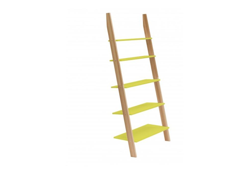 Raft din lemn de frasin si MDF Ashme Yellow l85xA35xH180 cm