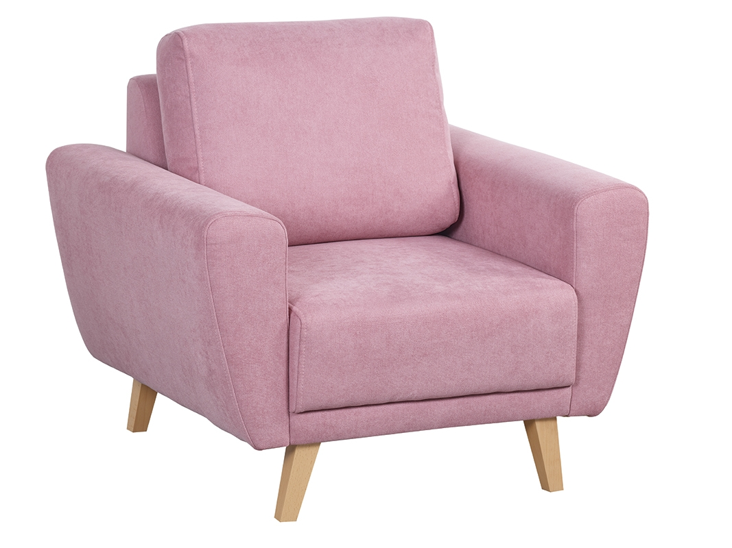 Fotoliu tapitat cu stofa cu picioare din lemn Asti Pink l93xA87xH97 cm