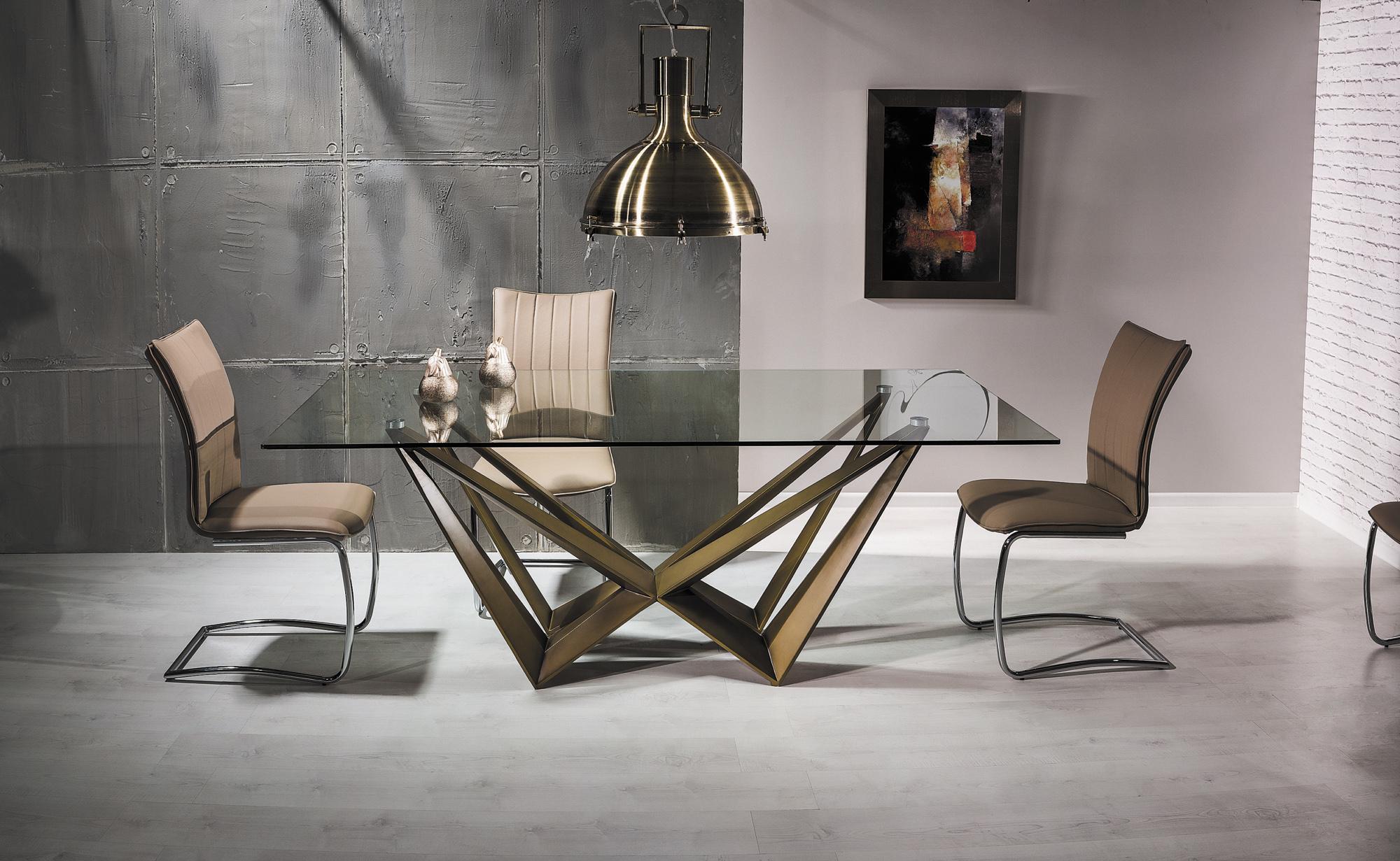 Set masa din sticla si MDF Aston Copper + 6 scaune H-455 Beige, L200xl100xH76 cm poza