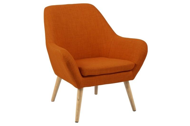Fotoliu tapitat cu stofa, cu picioare din lemn Astro Orange, l76xA74xH84,5 cm