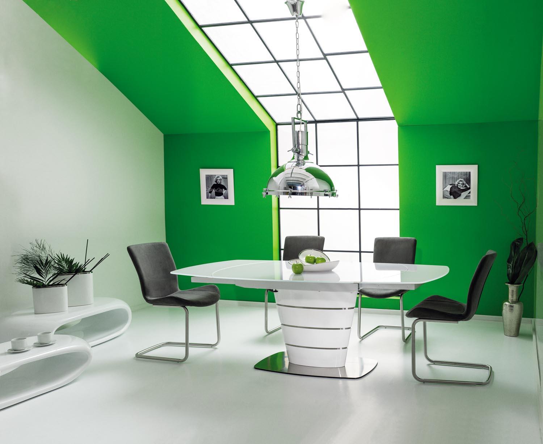 Set masa extensibila din sticla si MDF Aurelio White + 4 scaune tapitate H-301 Grey, L140-200xl100xH76 cm poza