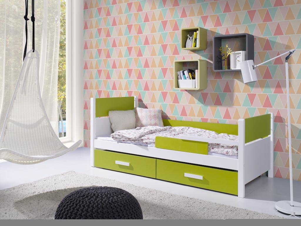 Pat din lemn de pin si pal, cu 2 sertare pentru copii Aurora, 200 x 90 cm imagine