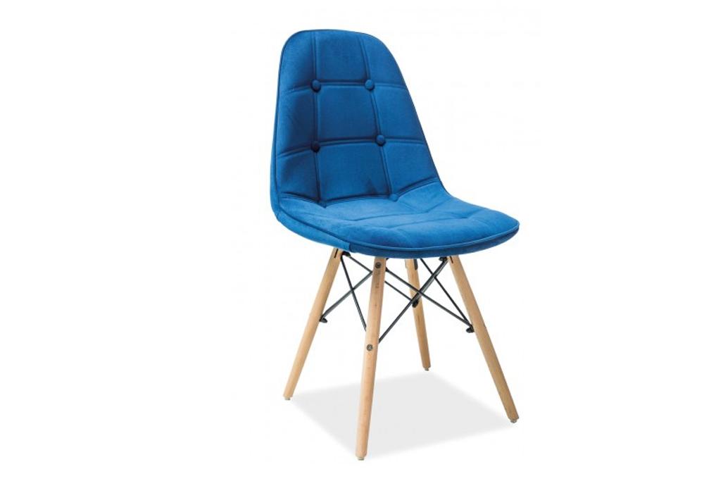 Scaun tapitat cu stofa, cu picioare din lemn Axel III Blue, l44xA41xH85 cm