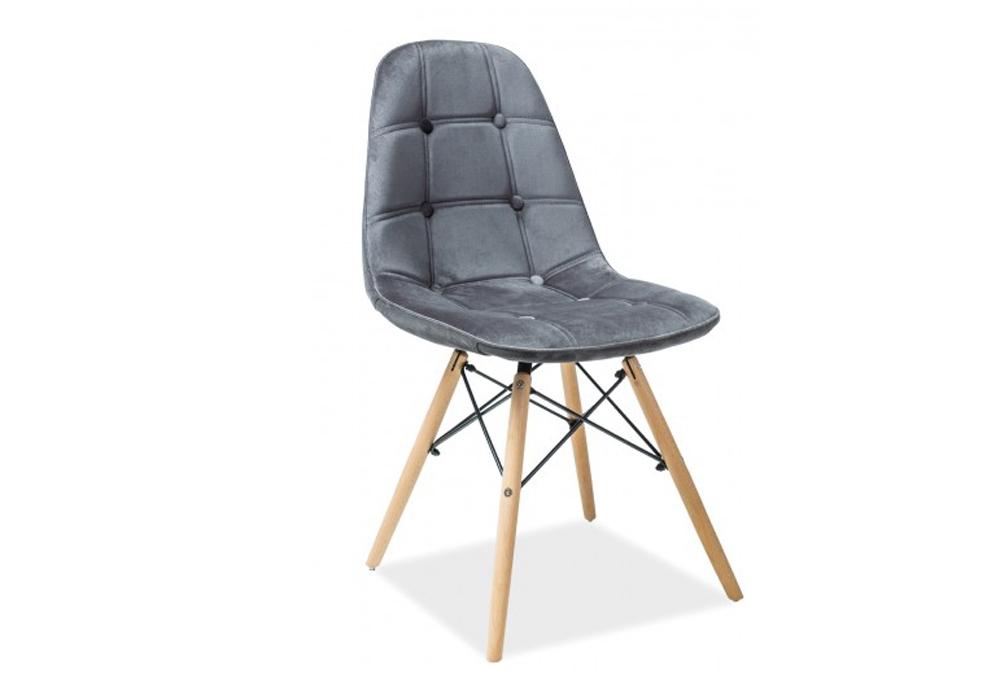 Scaun tapitat cu stofa, cu picioare din lemn Axel III Grey, l44xA41xH85 cm