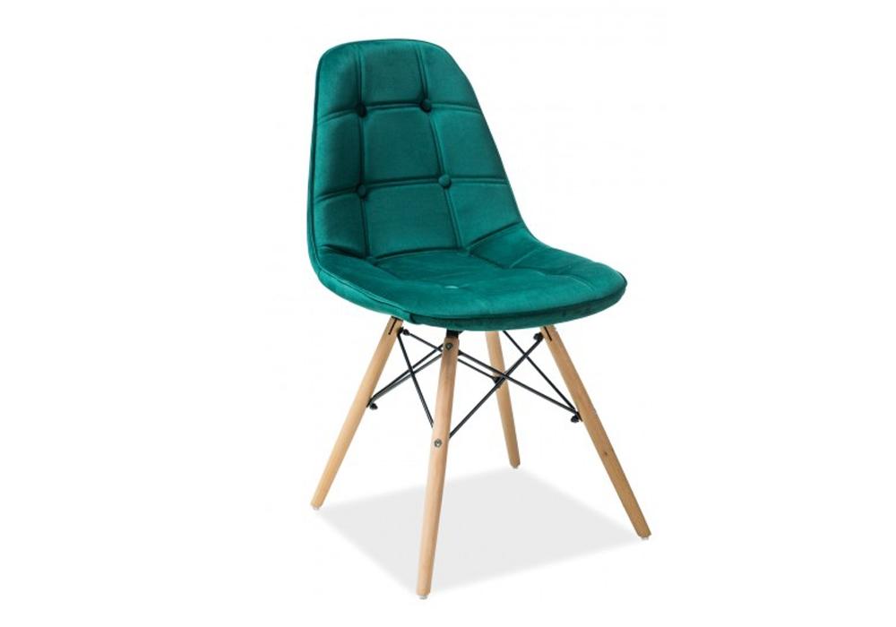 Scaun tapitat cu stofa, cu picioare din lemn Axel III Green, l44xA41xH85 cm