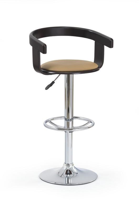Scaun de bar tapitat cu piele ecologica, cu picior metalic H-8 Coffee / Wenge, l44xA51xH79-100 cm imagine