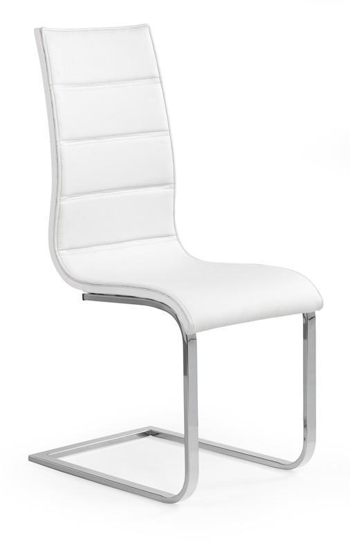 Scaun tapitat cu piele ecologica, cu picioare metalice K104 White, l42xA58xH99 cm imagine