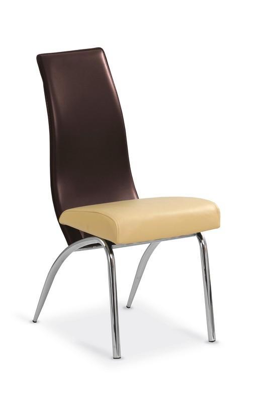 Scaun tapitat cu piele ecologica, cu picioare metalice K2 Beige / Brown, l41xA52xH94 cm poza