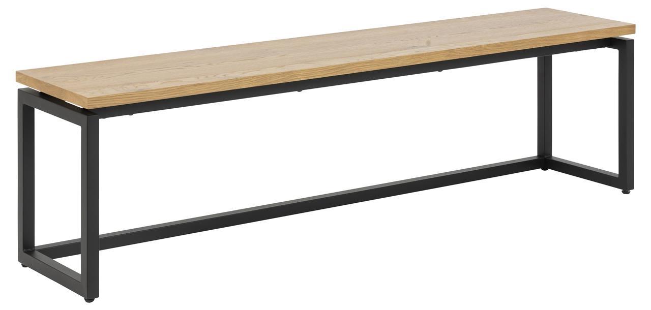 Banca din furnir de stejar si picioare metalice Dalarna Natural, l160xA35xH45 cm imagine