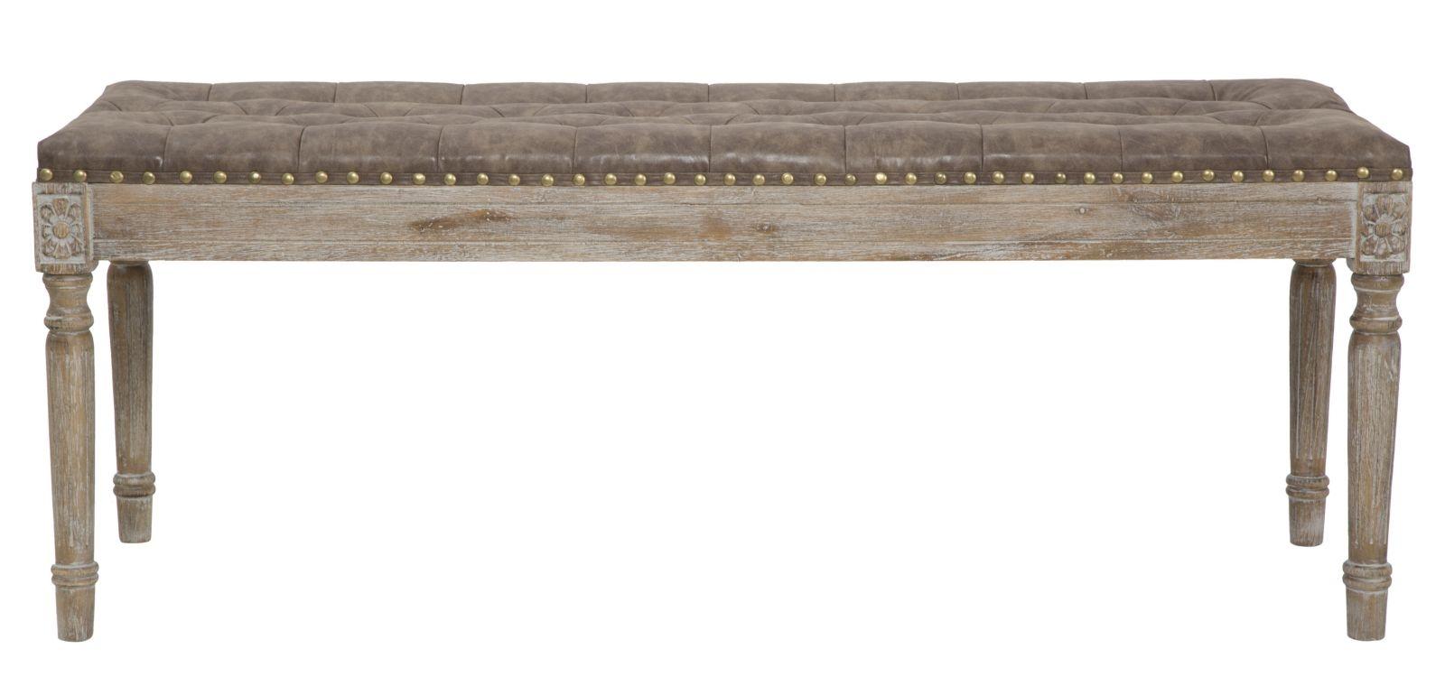 Banca tapitata cu piele ecologica cu picioare din lemn de fag Manchester l120xA41xH47 cm