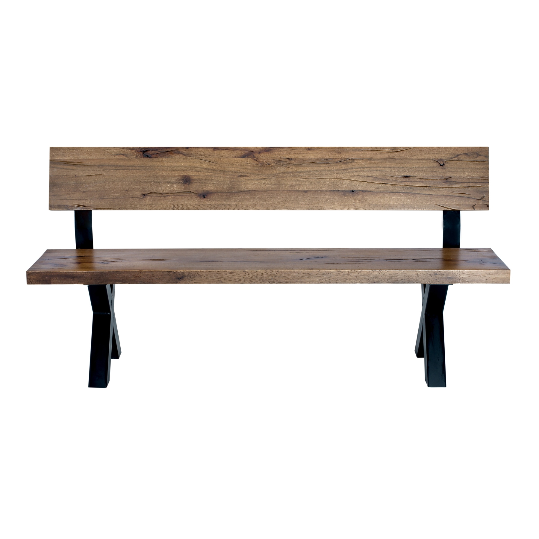 Banca din lemn de stejar salbatic cu picioare metalice Atena l200xA40xH75 cm