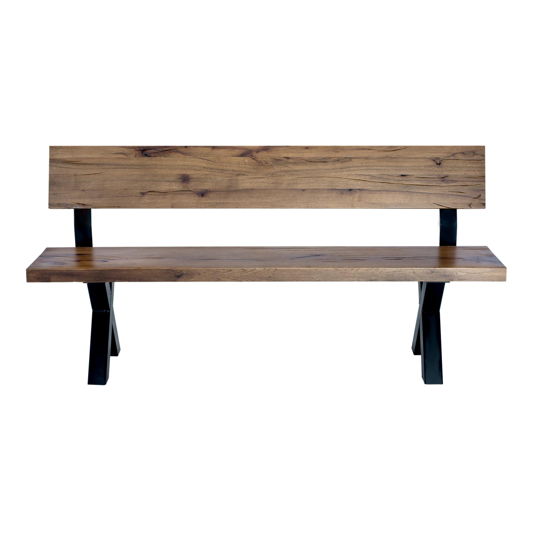 Banca din lemn de stejar salbatic cu picioare metalice Atena l240xA40xH75 cm