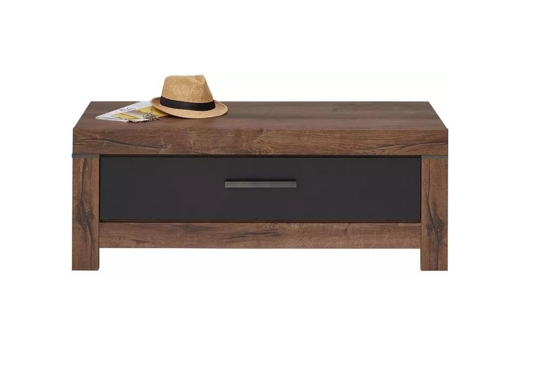 Banca din pal cu 1 sertar Blake Stejar Negru / Stejar, l112xA45xH45 cm imagine