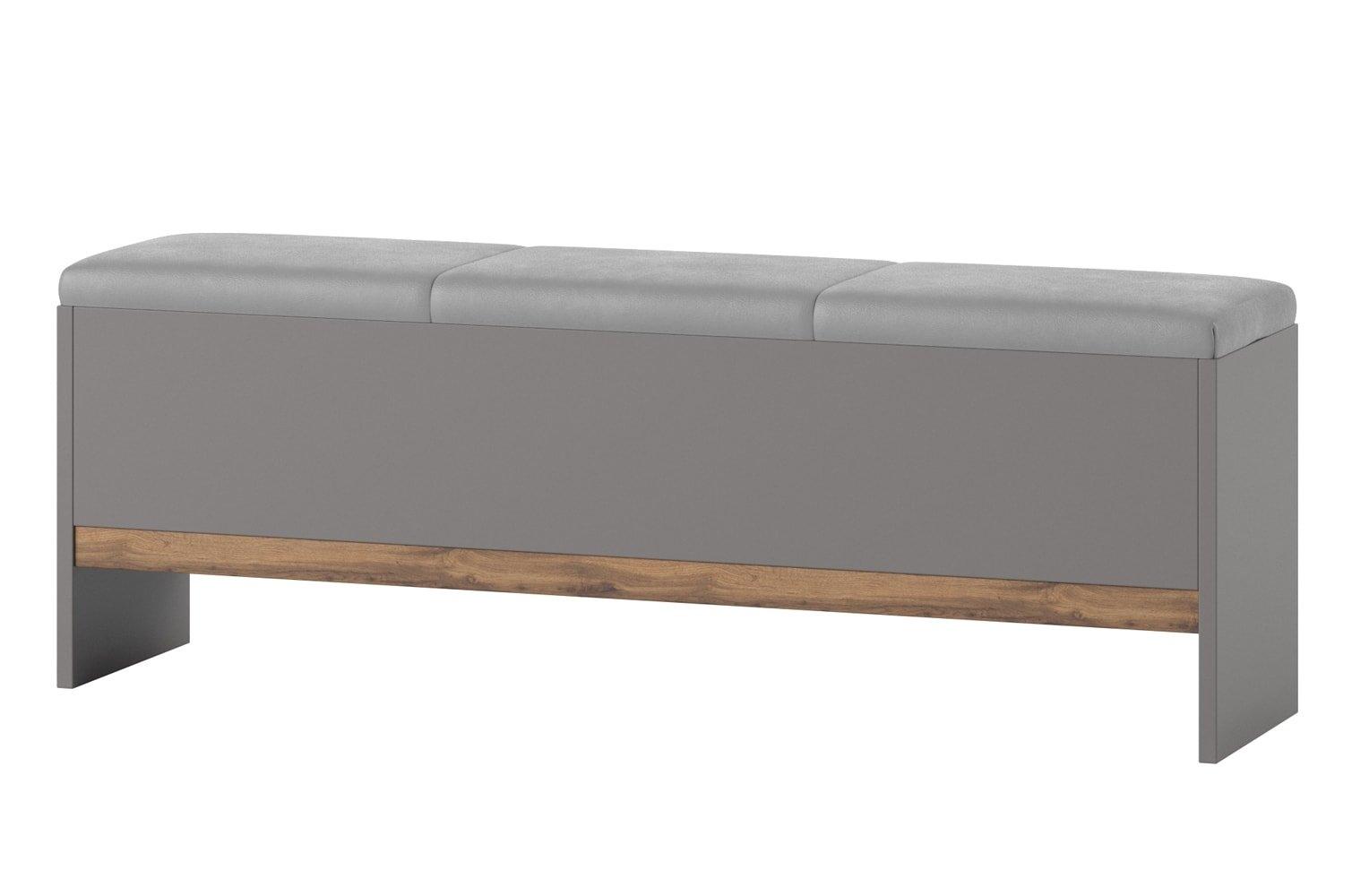 Banca tapitata cu piele ecologica Livorno 65 Oak / Grey, l165xA35xH53 cm imagine