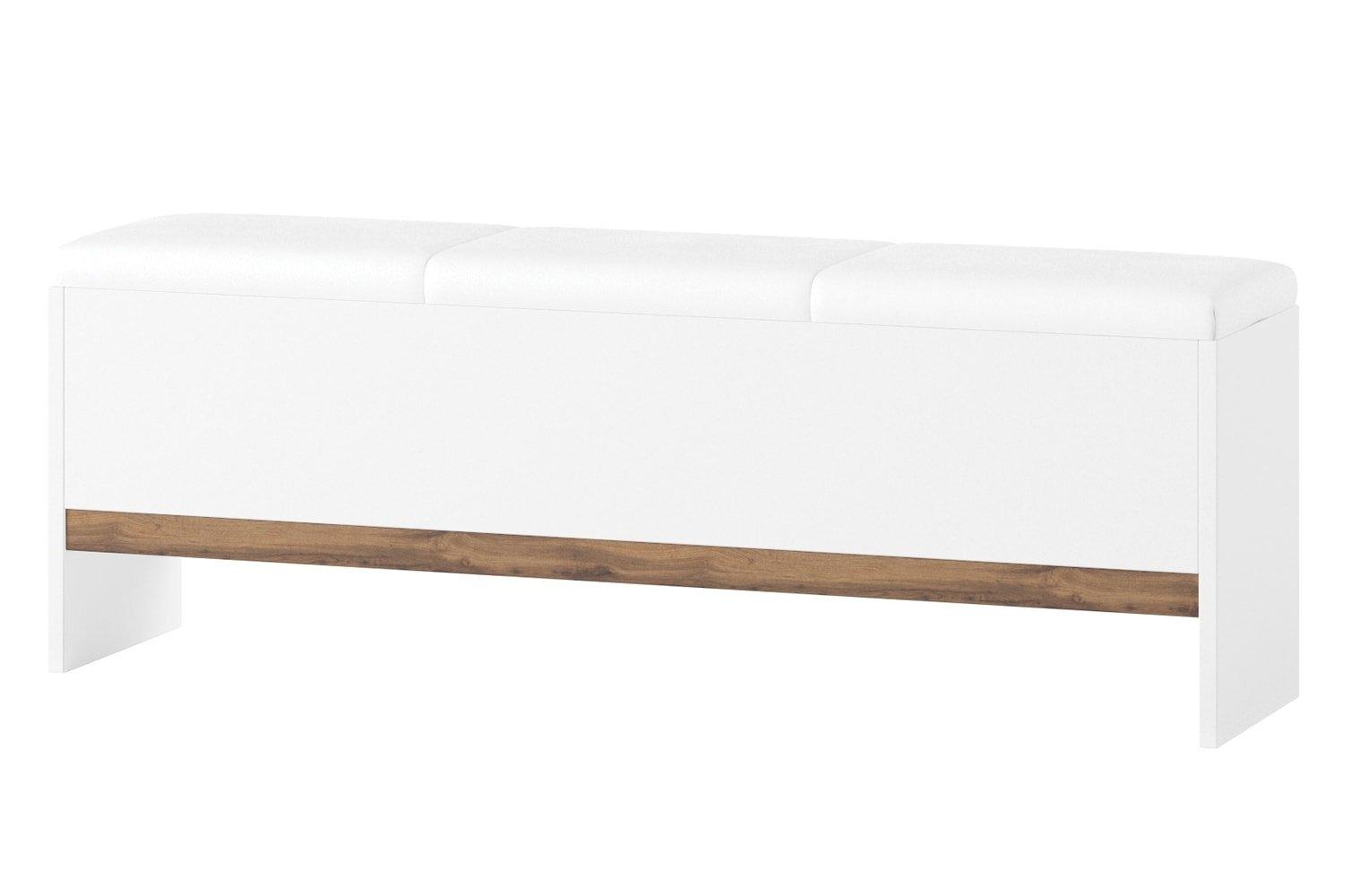 Banca tapitata cu piele ecologica Livorno 65 Oak / White l165xA35xH53 cm