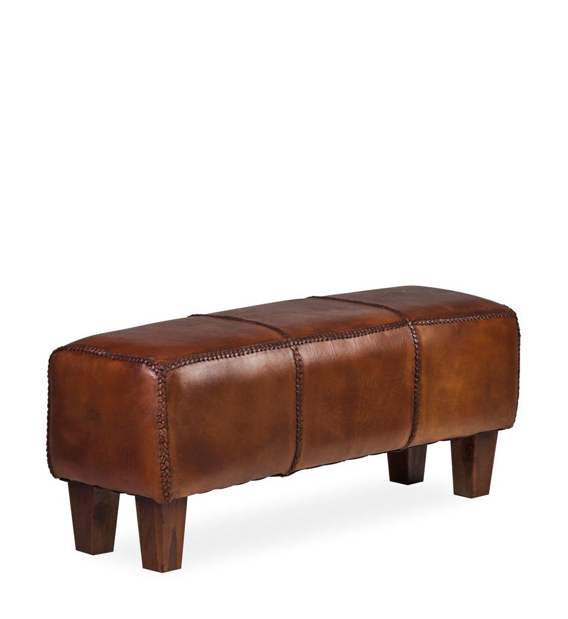 Banca tapitata cu piele naturala si picioare din lemn, Braid Maro Inchis, l110xA35xH45 cm