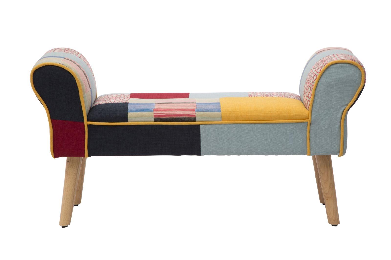 Banca tapitata cu stofa cu picioare din lemn Birmingham Multicolor l102xA31xH51 cm