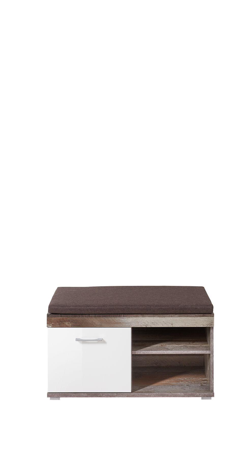 Banca tapitata cu stofa cu 1 usa Krone Maro / Alb, l90xA38xH46 cm imagine